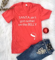 Excited to share the latest addition to my #etsy shop: Christmas Shirt, pregnant christmas shirts, christmas pregnancy shirt, mom to be Christmas, maternity Christmas shirt, santa belly, Trending Baby Kicking, Third Baby, After Baby, Baby Arrival, Pregnant Mom, Pregnant Shirts, First Time Moms, Having A Baby, Christmas Shirts