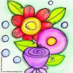 Happy Doodle Flower By Debi Payne