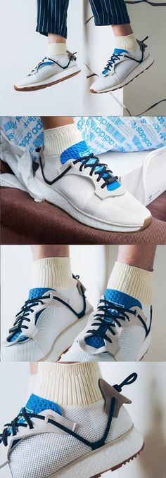 #Alexander #Wang x #Adidas #Originals #Run #AW #White Casual Sneakers, Sneakers Fashion, Casual Shoes, Fashion Shoes, Shoes Sneakers, Sport Fashion, Mens Fashion, Runway Fashion, Hypebeast
