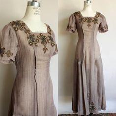 Items similar to Vintage Antique Dress / Edwardian Taupe Brown Embroidered on Etsy Edwardian Gowns, Edwardian Fashion, Vintage Fashion, Edwardian Clothing, Vintage Clothing, Vintage Dresses, Vintage Outfits, Vintage Wardrobe, Vintage Costumes