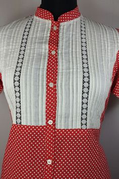 Red polka dot shirt, Embroidery on bottom, Pleated white yoke, Chinese collar, 100%cotton.