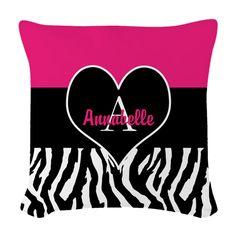 Pink Zebra Heart Monogram Personalized Woven Throw on CafePress.com