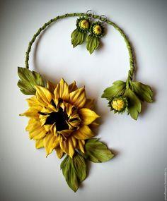 """Купить Колье из кожи """"Подсолнух"""" - желтый, подсолнух, цветы из кожи, подс, колье из кожи"""