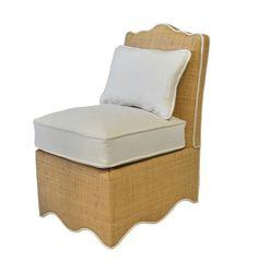 Scalloped raffia slipper chair, for the Bahamas