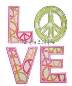 Peace Sign LOVE Applique
