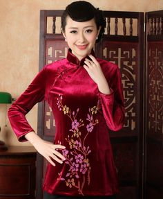 Classy Burgundy Velour Floral Embroidery Women's Traditional Chinese Top - iDreamMart.com
