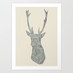 Deer. Art Print by Floor-pies | Society6