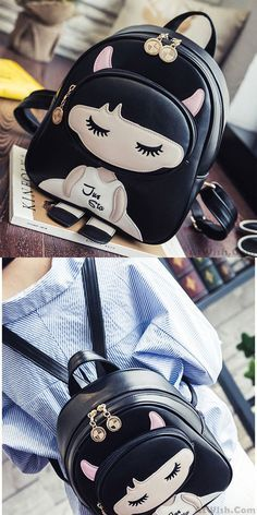 Lovely PU Splicing Cartoon Close Eyes Girl Black Leisure Student Bag College Backpacks for big sale! Lace Backpack, Retro Backpack, Backpack Bags, Leather Backpack, Stylish Backpacks, Cute Backpacks, Girl Backpacks, College Backpacks, College Bags For Girls