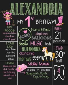 Cowgirl Theme Birthday Chalkboard Sign- Printable Birthday Chalkboard Poster- Birthday Board- Personalized Custom Sign- Yee Haw- Pink by SouthernElegancePE on Etsy