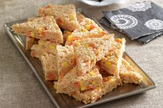 Candy Corn-Marshmallow Crispy Treats!! These will be a great followup to the lucky charms treats we had at the last party :)