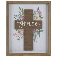 """Bring your botanical passions and unwavering faith together in accents like Floral Grace Cross Wood Wall Decor. This MDF piece has a rectangular shape with a naturally colored frame, a distressed white background, watercolor flowers in pink, yellow, and green, and a brown cross cutout with white calligraphy posted in the center. Hang it anywhere that could use encouragement and blessing to help you get through the day! Details:  Length: 12 1/2""""  Width: 10 1/4""""  Thickness: 1""""  Orientation: Ve Heart Wall Decor, Cross Wall Decor, Crosses Decor, Wood Crosses, Wood Wall Decor, Paper Wall Decor, Wooden Cross Crafts, Wood Crafts, Hobby Lobby Crafts"""