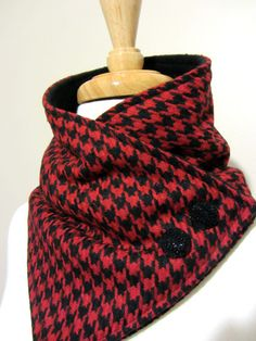Neck Warmer. Christina Robinson. Red and Black Houndstooth with Black Buttons