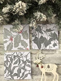 Could do similar deer instead of the fox on the thin trees linocut. Christmas Makes, Christmas Art, Lino Art, Textiles, Linoprint, Linocut Prints, Xmas Cards, Printmaking, Inspiration