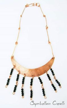 """Necklace """"Rising Moon"""", copper and crystal beads #copper #necklace"""