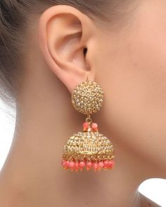 Jhumka Earrings with Pink Drops