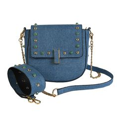 Women Summer Messenger bag New 2017 Personality Rivet Drew bag Fashion Denim Saddle bag Wide Shoulder Belt Vintage Crossbody bag