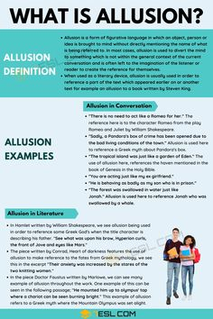 You may have heard of the concept of allusion and wondered what it was. This area of the English language may at first, seem confronting if you do not understan Grammar For Writing, Teaching English Grammar, English Writing Skills, English Lessons, English Vocabulary, Writing A Book, Learn English Words, English Phrases, English Language