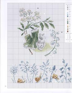 0 point de croix grille et couleurs de fils bottes de jardin ,fleurs chaton et escargots