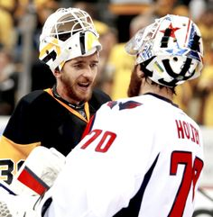 Matt Murray #30 of the Pittsburgh Penguins and Braden Holtby #70 of the Washington Capitals shake hands after the Pittsburgh Penguins defeated the Washington Capitals 4-3 in Game Six of the Eastern Conference Second Round during the 2016 NHL Stanley Cup Playoffs at Consol Energy Center on May 10, 2016 in Pittsburgh, Pennsylvania