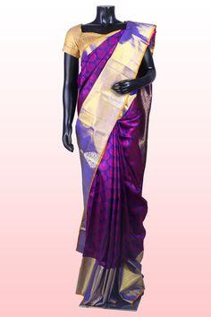Royal #blue weaved pure silk saree in blue weaved #pallu -SR7640