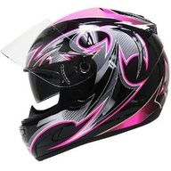 HAWK Black-Pink-Glossy Full-Face Dual-Visor Ladies Motorcycle Helmet - Color : pink - Size : Extra Small