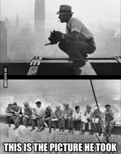 Charles Ebbets taking a photo on 69th floor in 1932, in New York