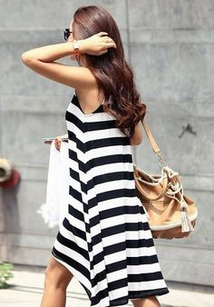 Black White Striped Sleeveless High Low Dress