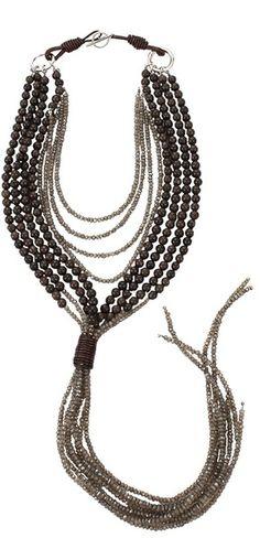 Brunello Cucinelli  Agate Quartz Tassel Necklace