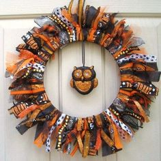 Halloween Decoration, Halloween Wreath, Fall Wreath, Halloween Decor, Trick or Treat Fabric Wreath Ribbon Wreath with Owl by AWorkofHeartSA, $75.00 by Pg7