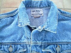 Denim Jacket 80s  Big Time Fashion  French JEAN by csclothes
