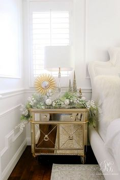 nightstands styled for christmas