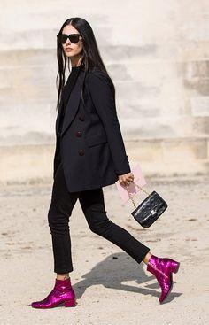 Those Boots! Saint Laurent, street style, Paris Fashion Week, Gilda Ambrosio, Sandra Semburg / Garance Doré