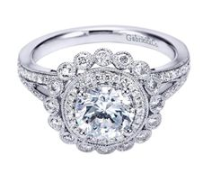 A sparkler fit for a princess. A Gabriel & Co. Halo Engagement Ring.