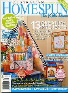 homespun - oct 2010 life is a celebration bom finish pages includes pattern pages Rag Rug Tutorial, Cushion Tutorial, Stitch Magazine, Sewing Magazines, Origami, Baby Quilt Patterns, Cross Stitch Books, Patch Aplique, Jellyroll Quilts