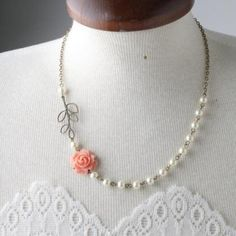 Coral rose necklace and ivory pearl necklace