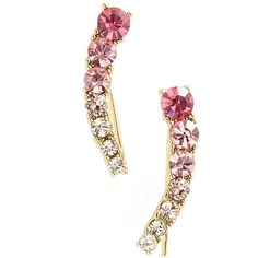 kate spade new york 'dainty sparklers' ear crawlers ($48) ❤ liked on Polyvore featuring jewelry, earrings, pink multi, 14 karat gold jewelry, pink earrings, kate spade earrings, 14k jewelry and sparkle jewelry