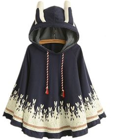 D-Sun Womens Rabbit Ears Hooded Pullover Hoodie Shawl Cape Poncho Cotton Sweater -- Awesome products selected by Anna Churchill