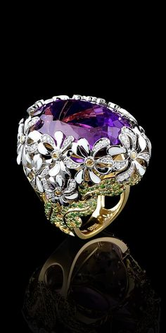 Master Exclusive Jewellery - Collection - Bouquet of love Yellow and White gold,amethyst,green diamonds,yellow diamonds: