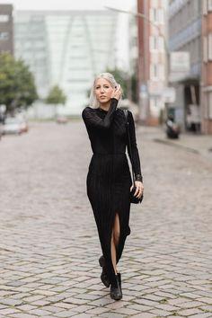 Plissee Kleid, Zara, Maxikleid, All Black, LeSpecs, Asos, Stella McCarney, lotd, Look, ootd, Outfit, Streetstyle, Autumn, Fashion, Blog, stryleTZ
