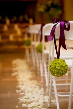 Wedding pomander flower ball - classic chartreuse pomander lining the isle. Custom pomander orders: Psalm117.Etsy.com