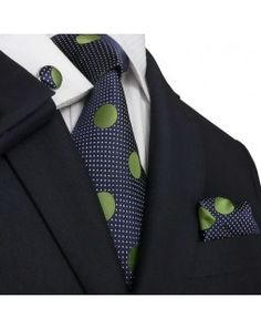 TheDapperTie - New Men's Navy & Green Polka Dots Silk Tie Set 59M