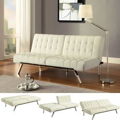 Emily Faux Leather Convertible Futon Sofa in Vanilla $269 - multi-position back
