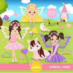 Spring fairy clipart, Spring clipart, Girl clipart, Fairytale clip art, Fairy graphics, Commercial use - CA392 by PremiumClipart on Etsy