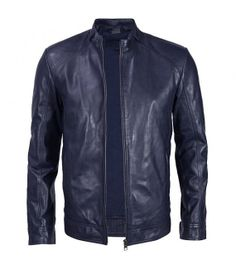 Handmade Men blue leather jacket blue men by Myleatherjackets, $149.99