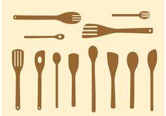 Simple Wooden Spoon Vectors Wooden Spoons, Vintage Kitchen, Vector Free, Simple, Tableware, Pattern, Cutlery, Vectors, Images