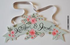 peach and mint custom banner | VIA #WEDDINGPINS.NET