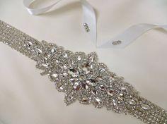 Rhinestone Bridal Sash Wedding Gown Accessory Crystal by ctroum