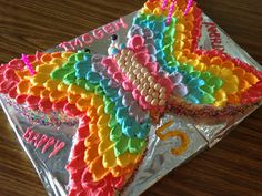 Petal Effect on Butterfly Cake - you clever monkey: A Rainbow Butterfly Party