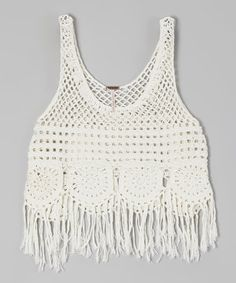 This Ivory Fringe Crocheted Tank by Poof! is perfect! #zulilyfinds   ADORABLE WITH THE CAPRIS