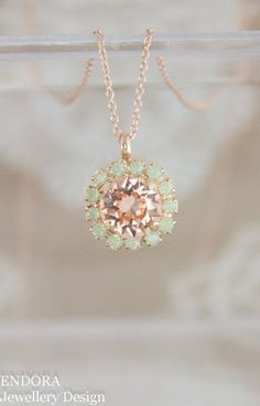 Swarovski peach and mint crystal | Peach and mint wedding | crystal necklace | rose gold necklace | bridesmaid necklace | bridal necklace | wedding jewelry | www.endorajewellery.etsy.com
